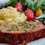 Low sodium meatloaf with double boiled potatoes and a salad.