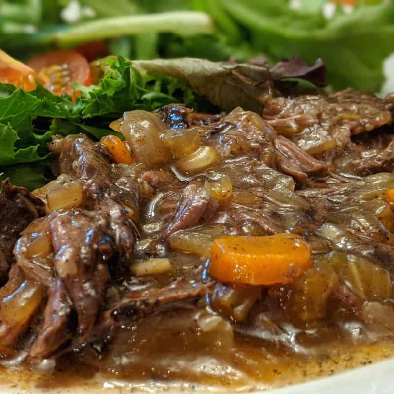 A tender and juicy slow cooked roast beef.