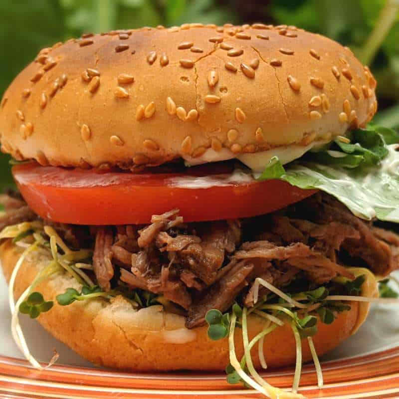 Pulled Beef Burger.