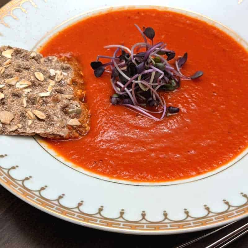 A delicious low sodium roasted red pepper soup. It's the perfect kidney friendly soup!
