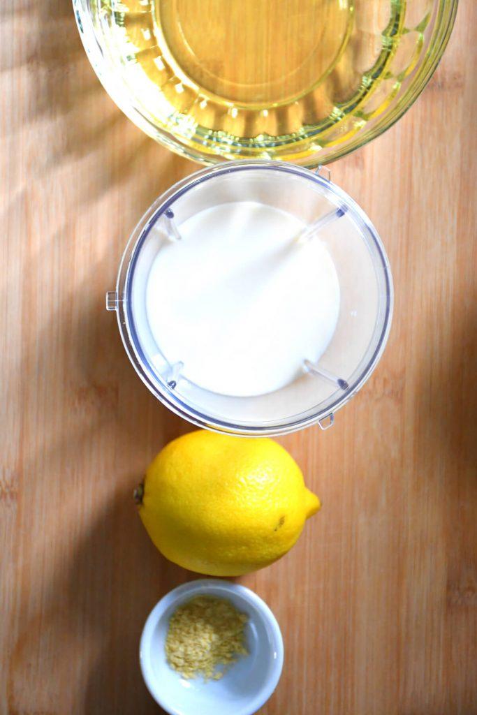 Presentation of the ingredients needed to make kidney friendly vegan mayonnaise.