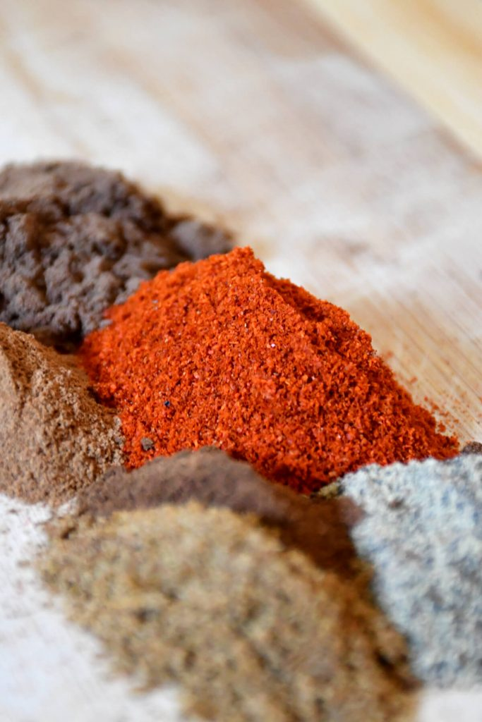 All the spices needed to make the low sodium Baharat spice mix.